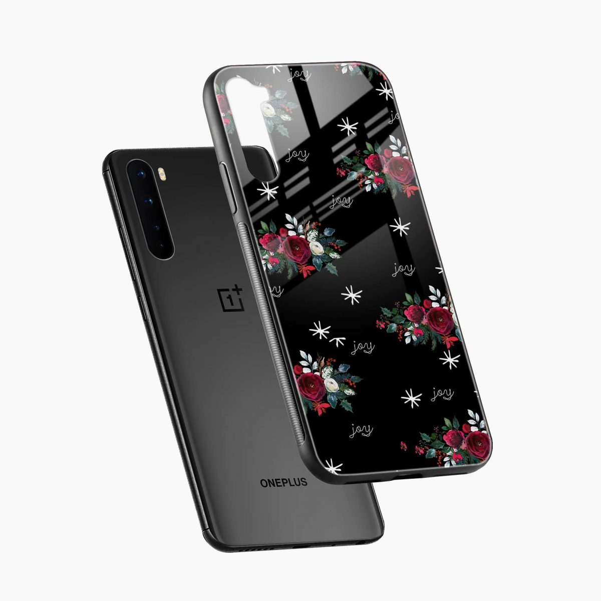 joy floral black colored diagonal view oneplus nord back cover