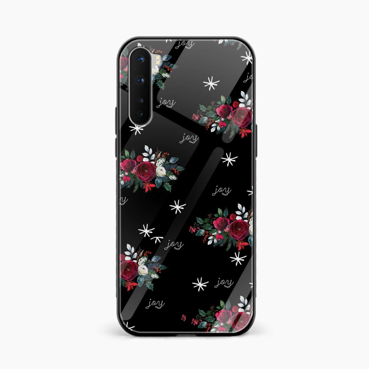joy floral black colored front view oneplus nord back cover