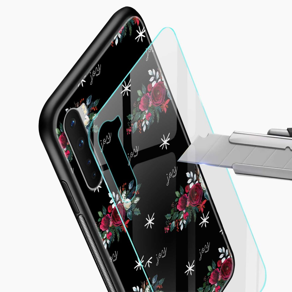 joy floral black colored glass view oneplus nord back cover