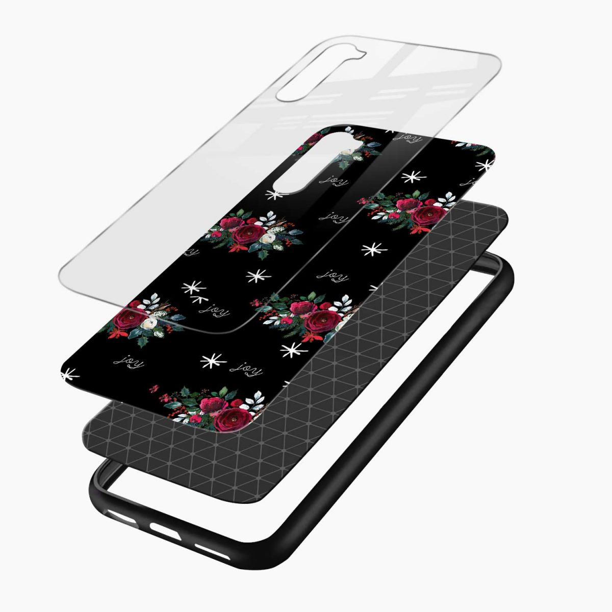 joy floral black colored layers view oneplus nord back cover