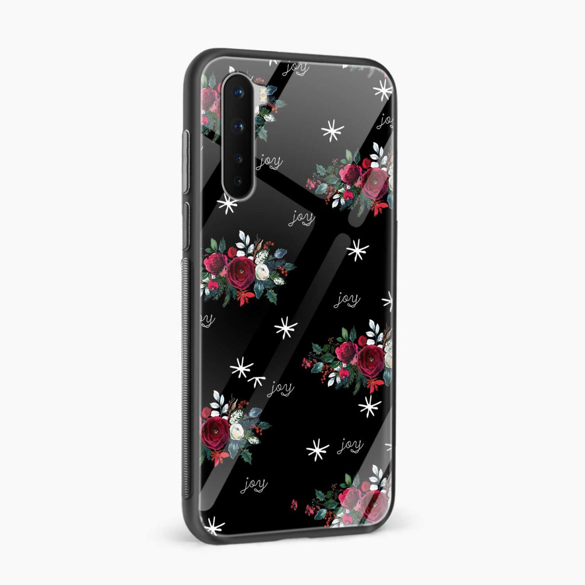 joy floral black colored side view oneplus nord back cover