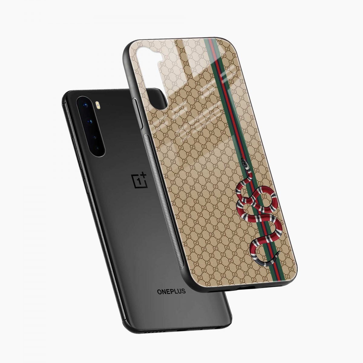gucci snake pattern diagonal view oneplus nord back cover