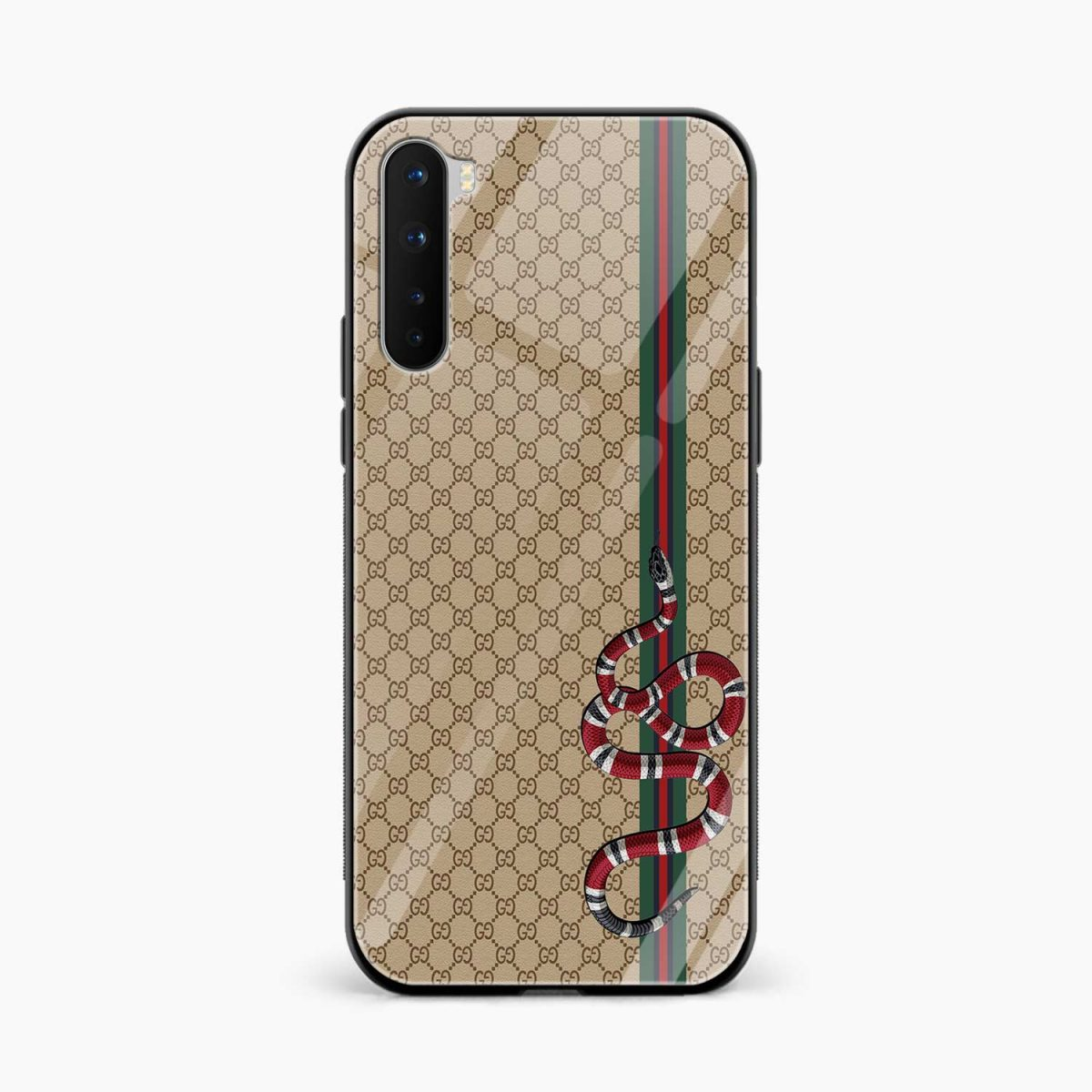 gucci snake pattern front view oneplus nord back cover