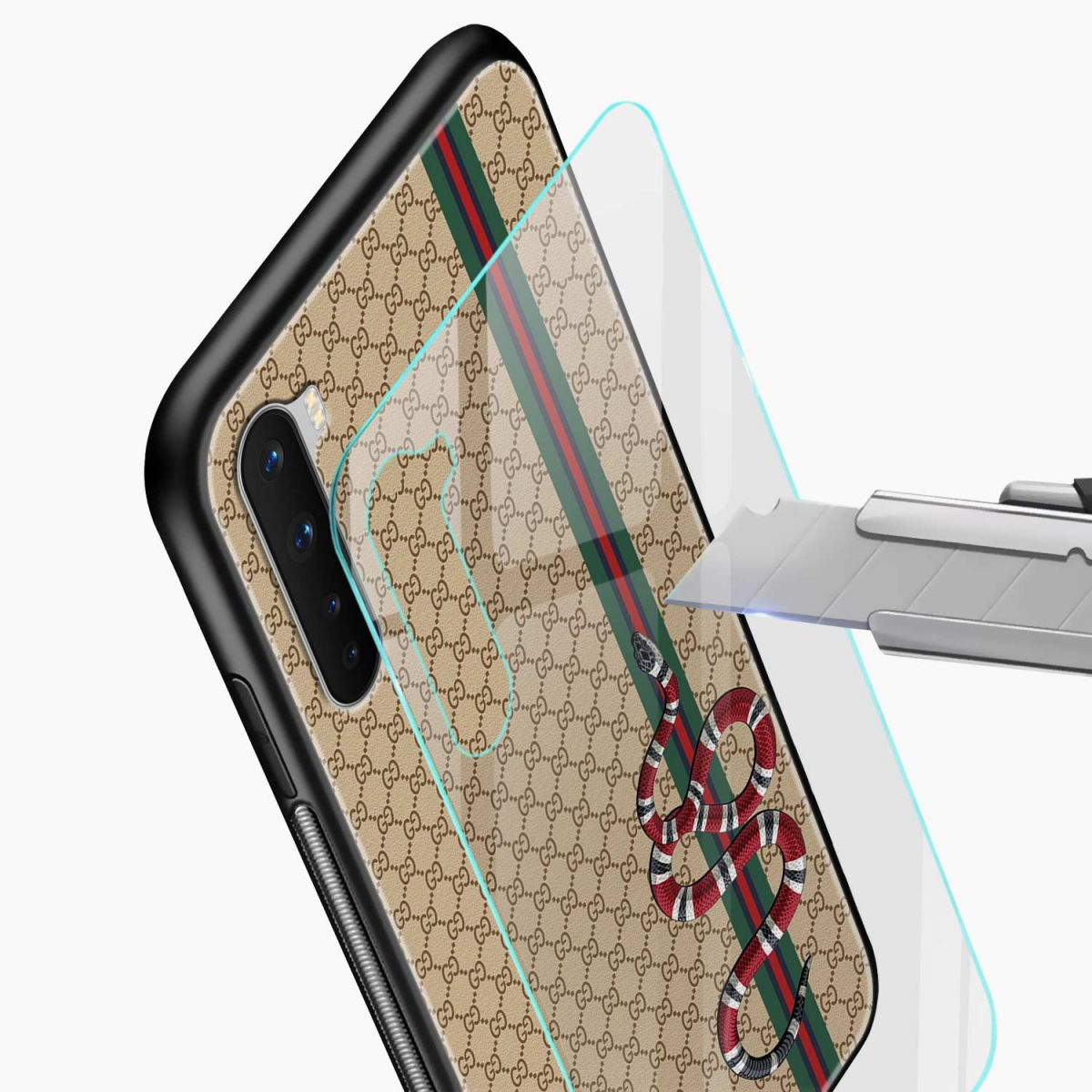 gucci snake pattern glass view oneplus nord back cover