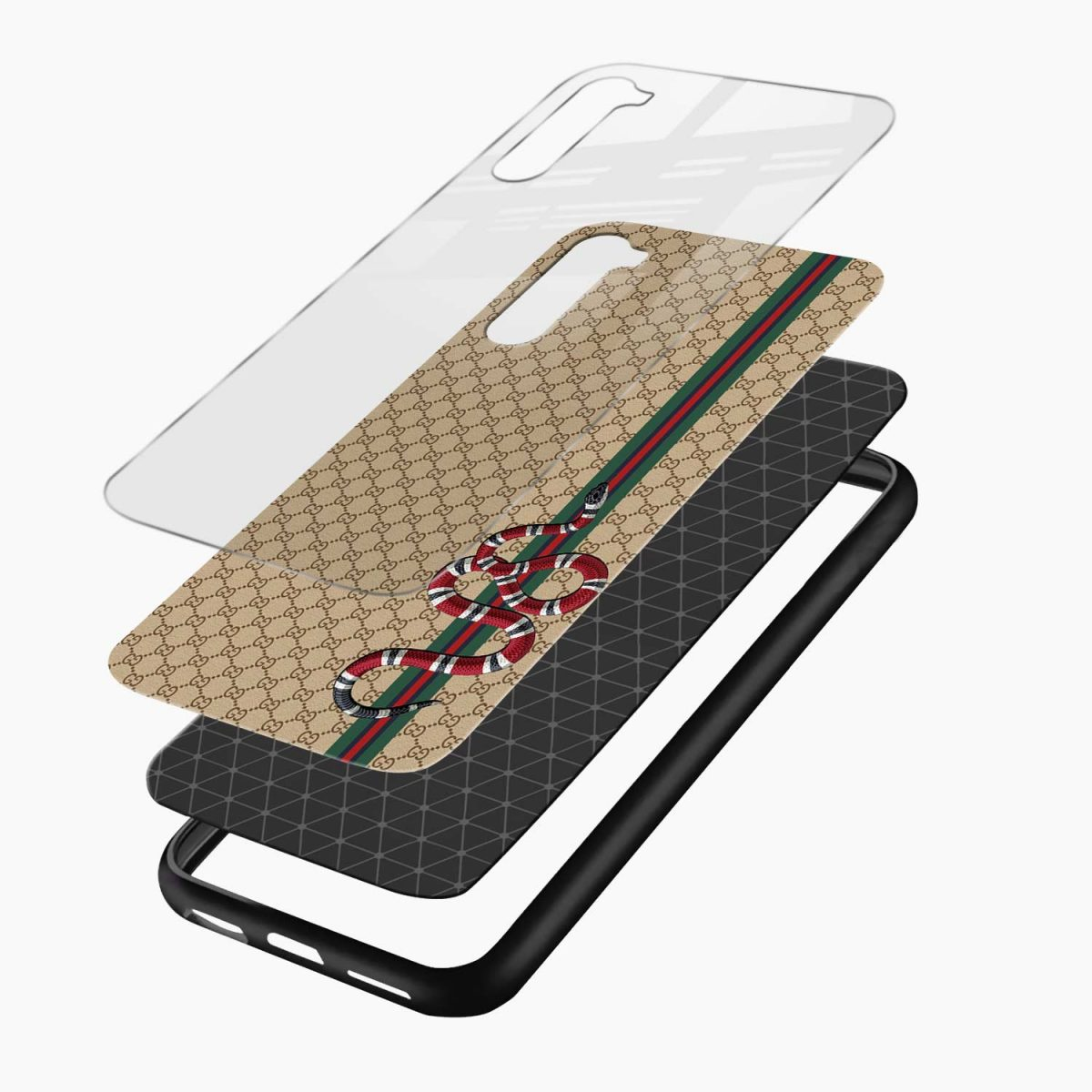 gucci snake pattern layers view oneplus nord back cover