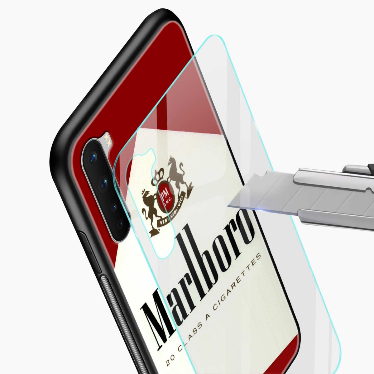 marlboro cigarette box glass view oneplus nord back cover