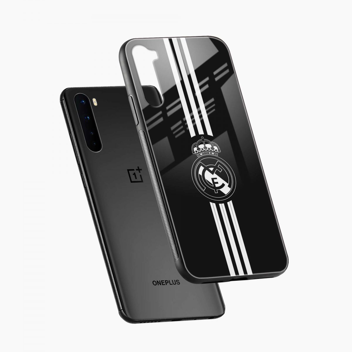 real madrid c f black diagonal view oneplus nord back cover