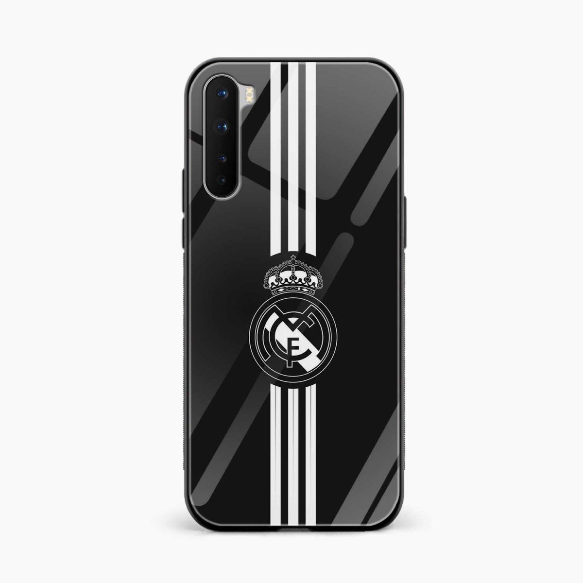 real madrid c f black front view oneplus nord back cover