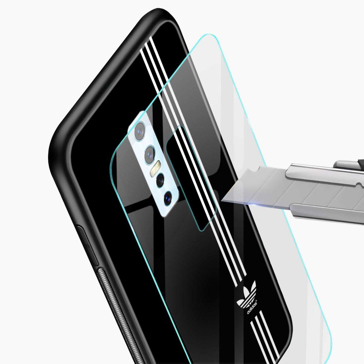 white strips adidas glass view vivo v17 plug back cover
