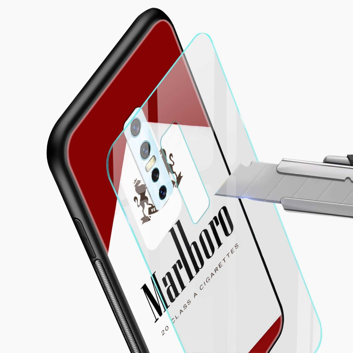 marlbor ciarette box glass view vivo v17 plug back cover