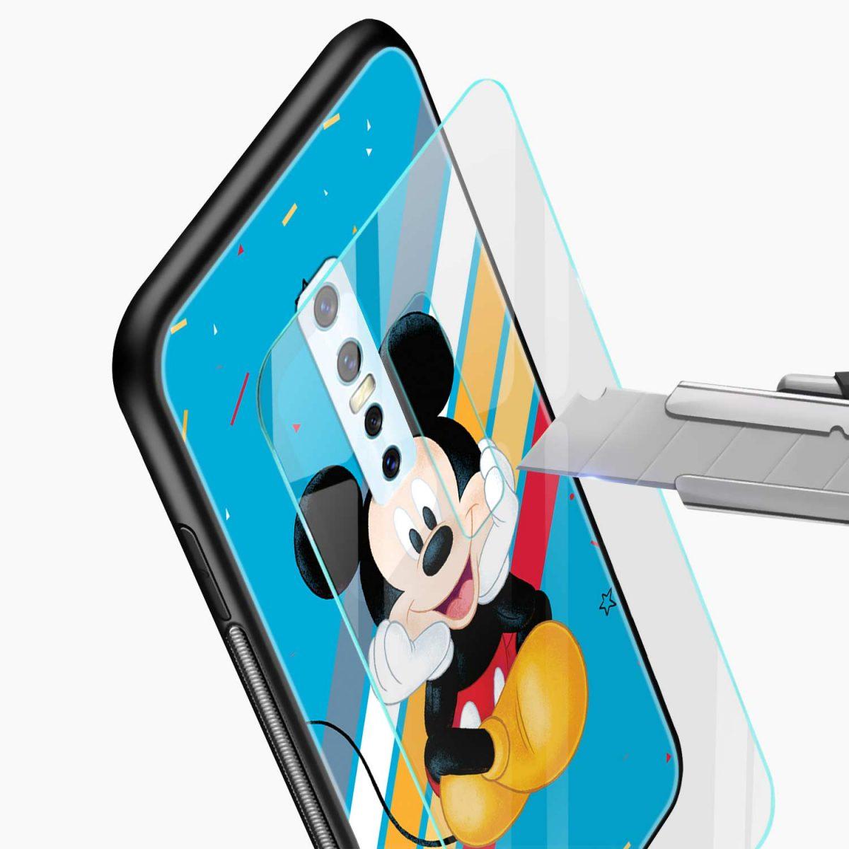 lovely cute mickey mouse disney cartoon glass view vivo v17 plug back cover