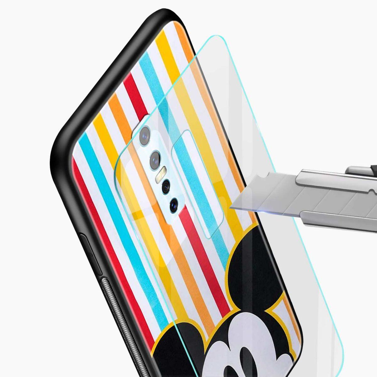 rigid spy mickey mouse glass view vivo v17 plug back cover