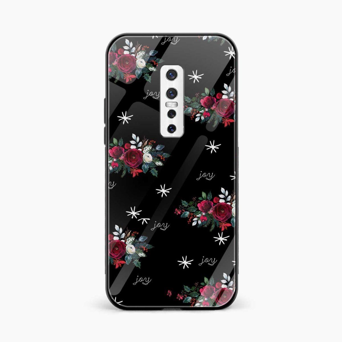 joy floral black colored front view vivo v17 plug back cover