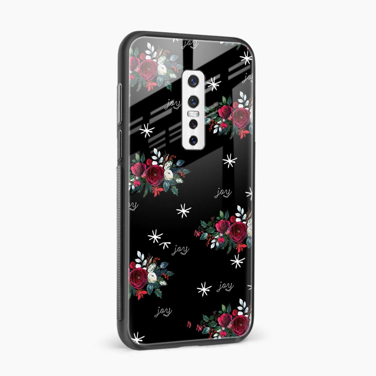 joy floral black colored side view vivo v17 plug back cover