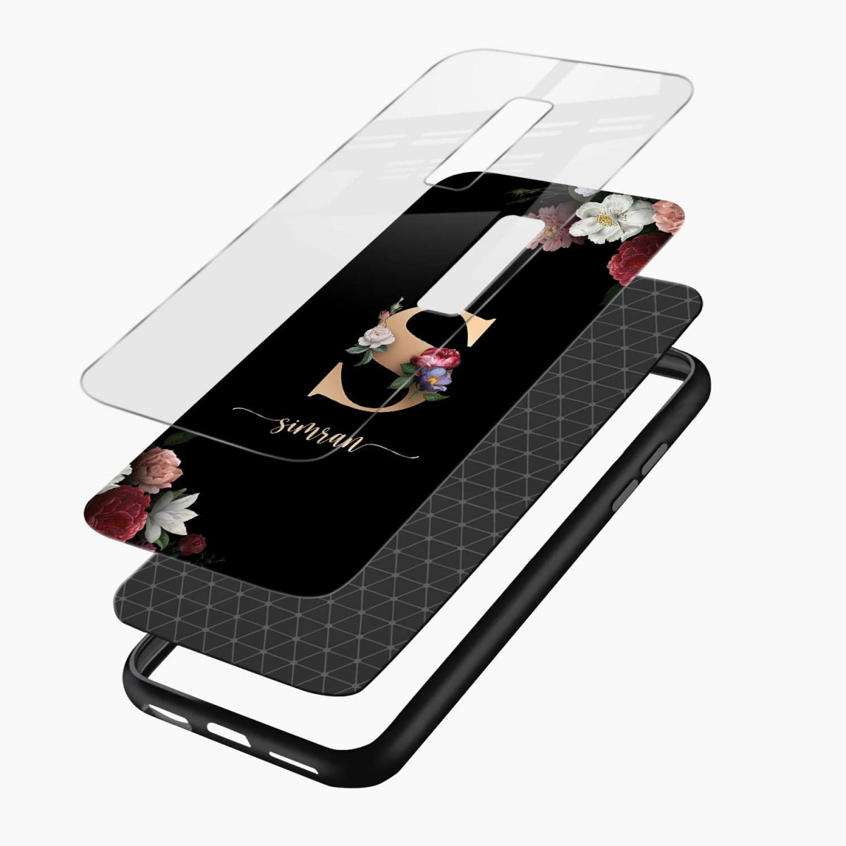 floral black color name personalised layers view vivo v17 plug back cover