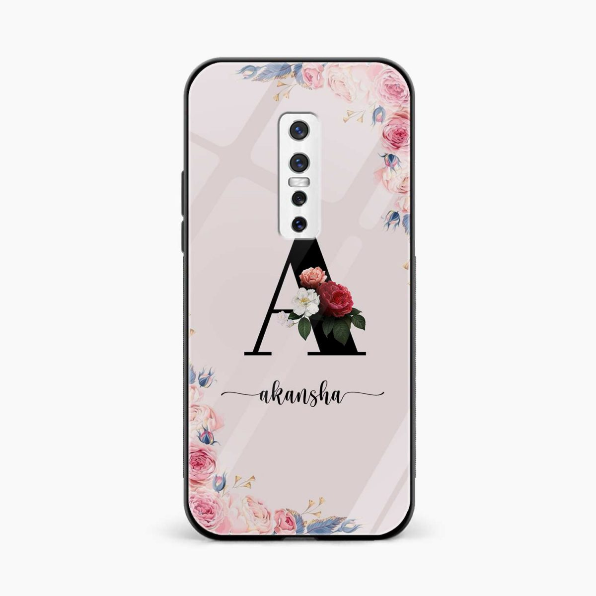 floral name personalised front view vivo v17 plug back cover