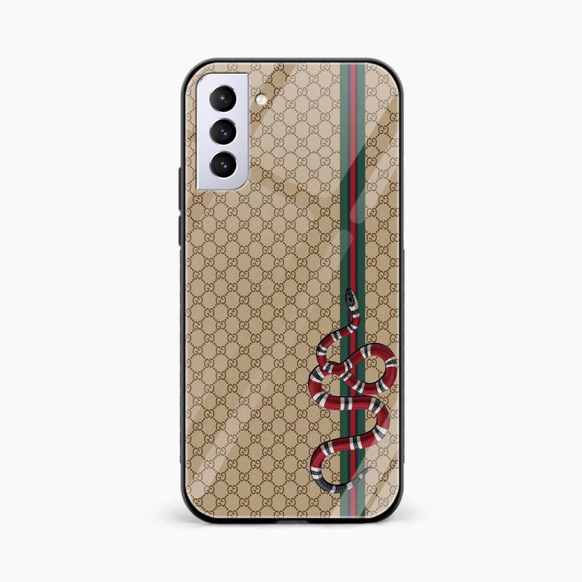 gucci snake pattern front view samsung s21 plug back cover