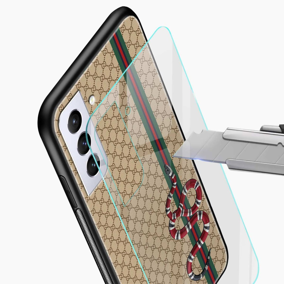 gucci snake pattern glass view samsung s21 plug back cover