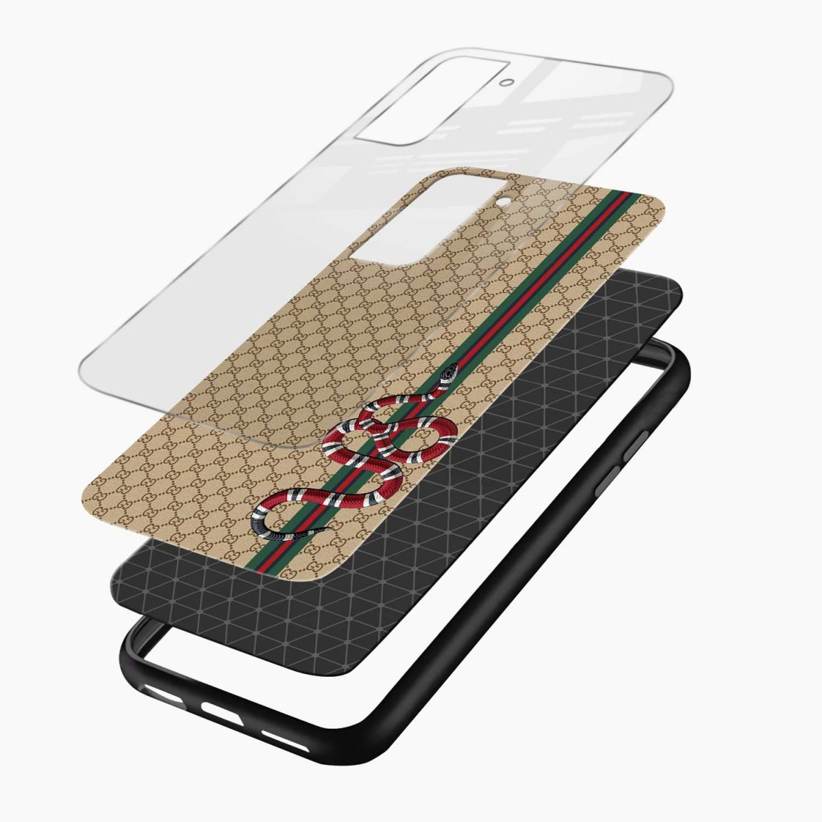 gucci snake pattern layers view samsung s21 plug back cover