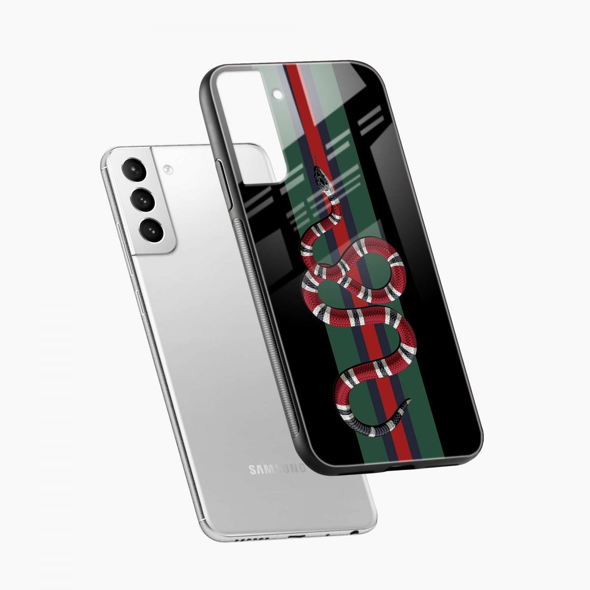 gucci snake with strips diagonal view samsung s21 plug back cover