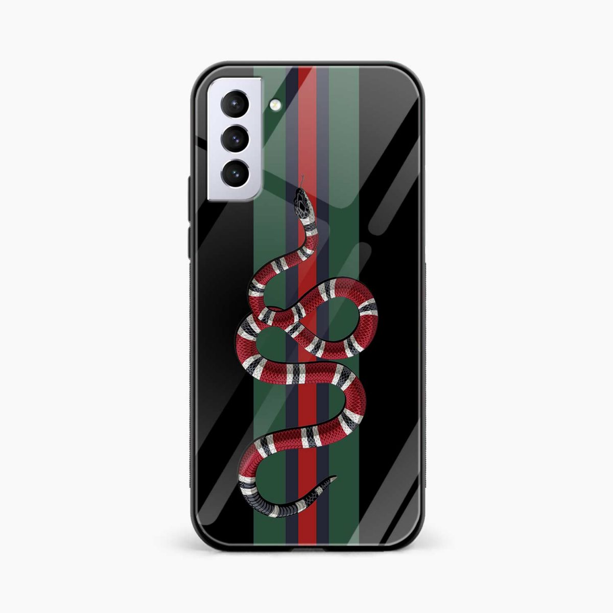 gucci snake with strips front view samsung s21 plug back cover
