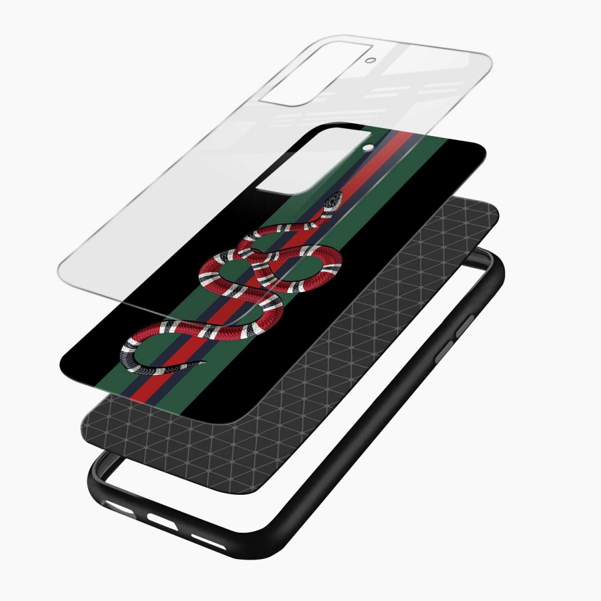 gucci snake with strips layers view samsung s21 plug back cover
