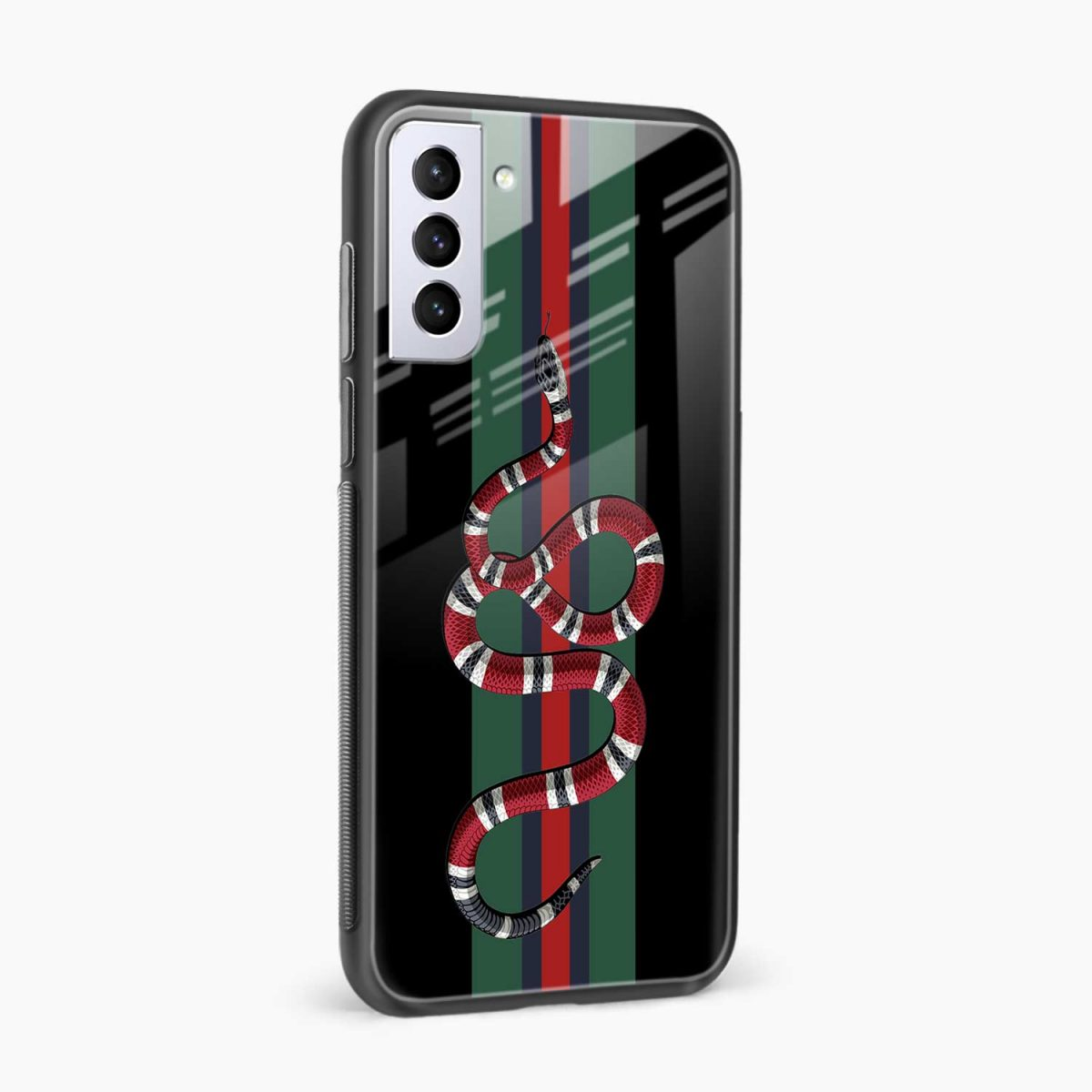 gucci snake with strips side view samsung s21 plug back cover