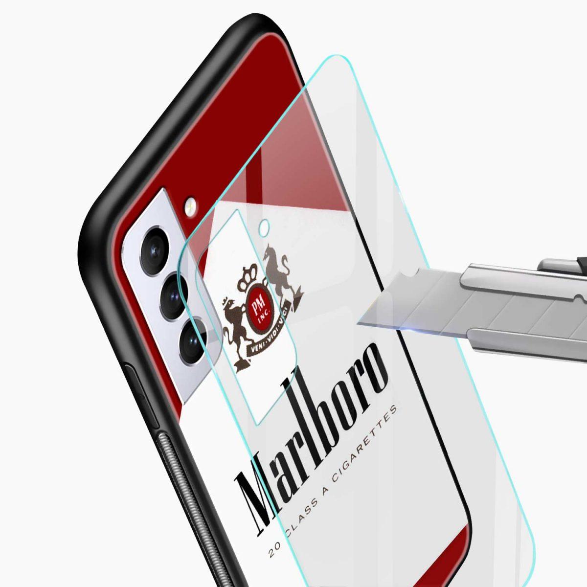 marlboro cigarette box glass view samsung s21 plug back cover