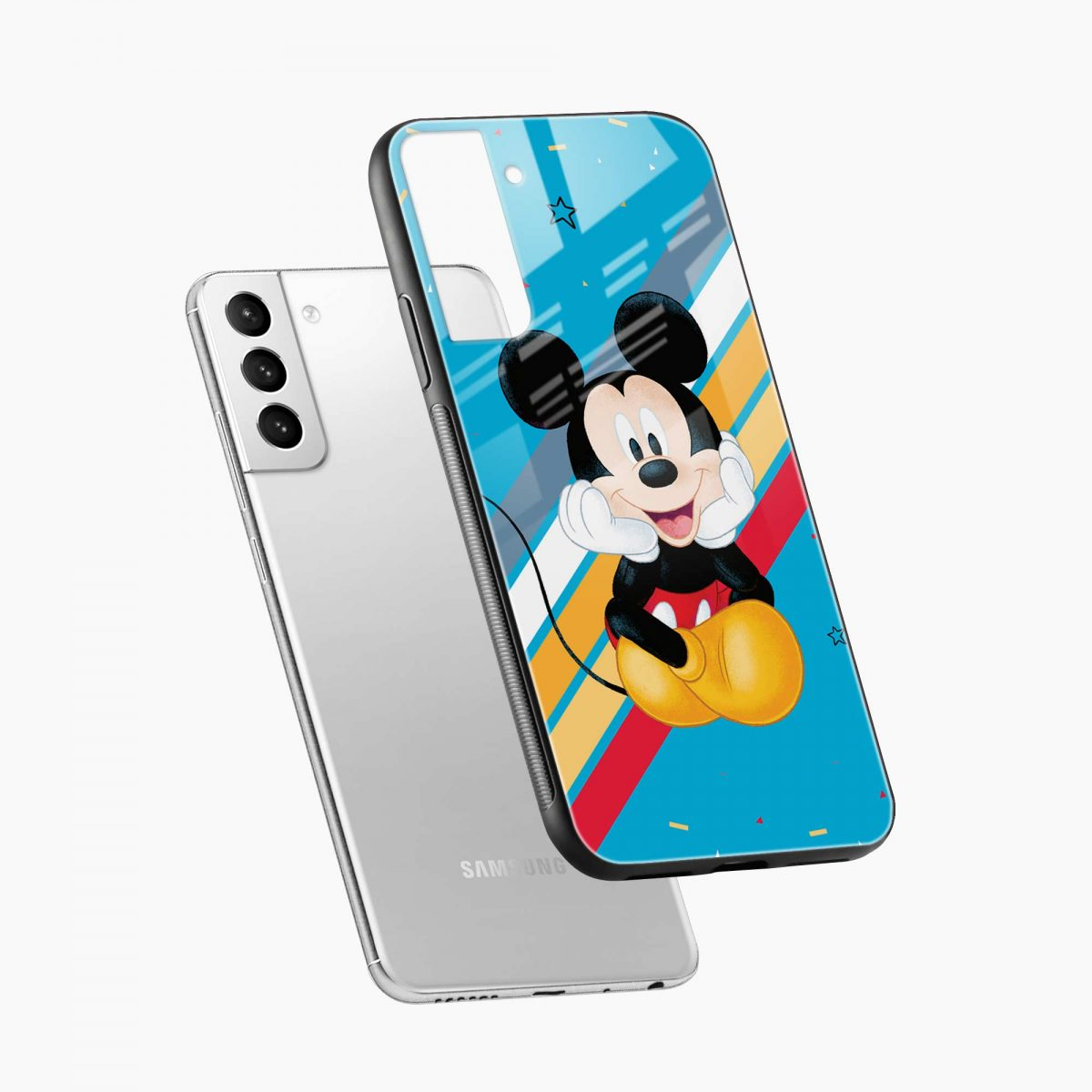 lovely and cute mickey mouse disney cartoon diagonal view samsung s21 plug back cover