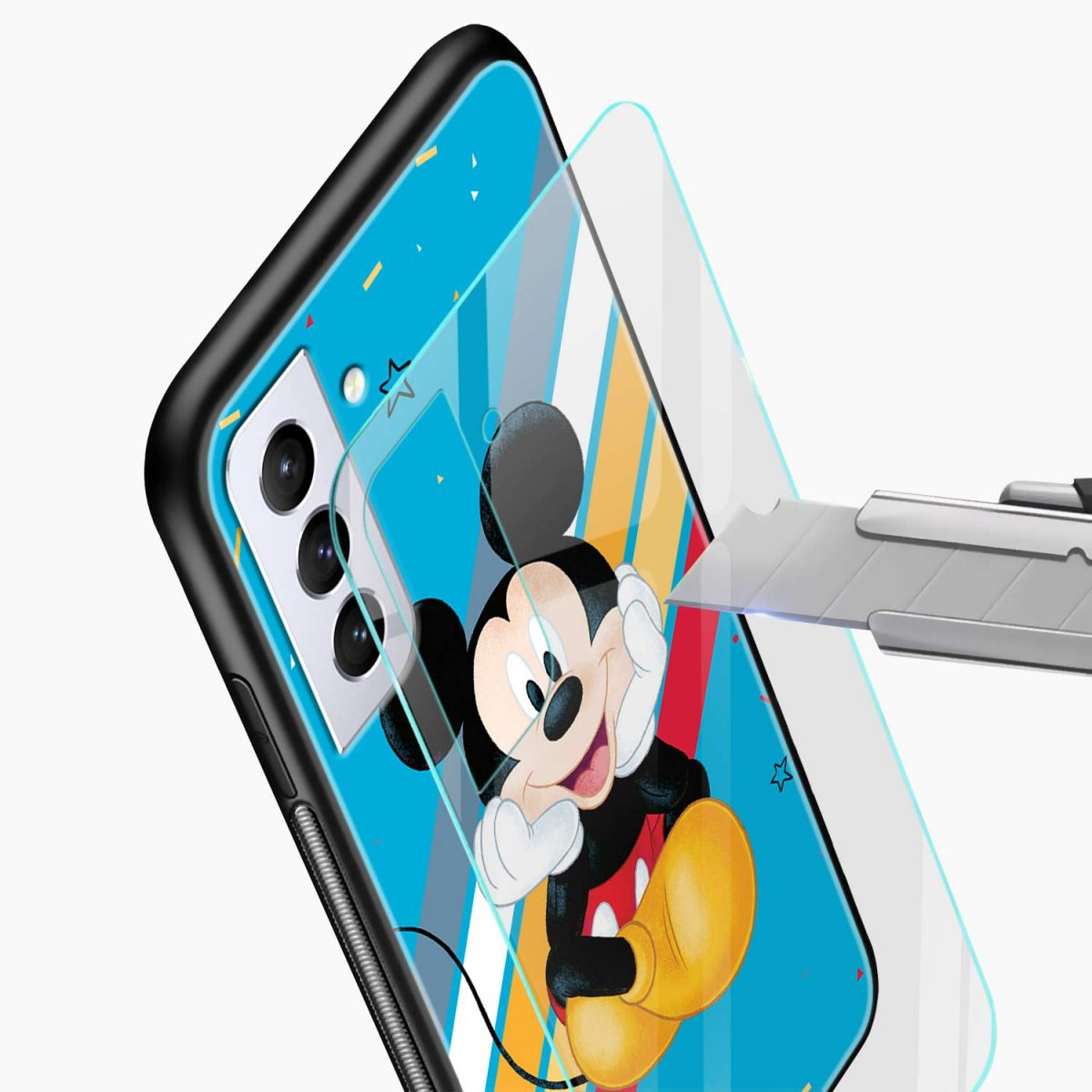 lovely and cute mickey mouse disney cartoon glass view samsung s21 plug back cover