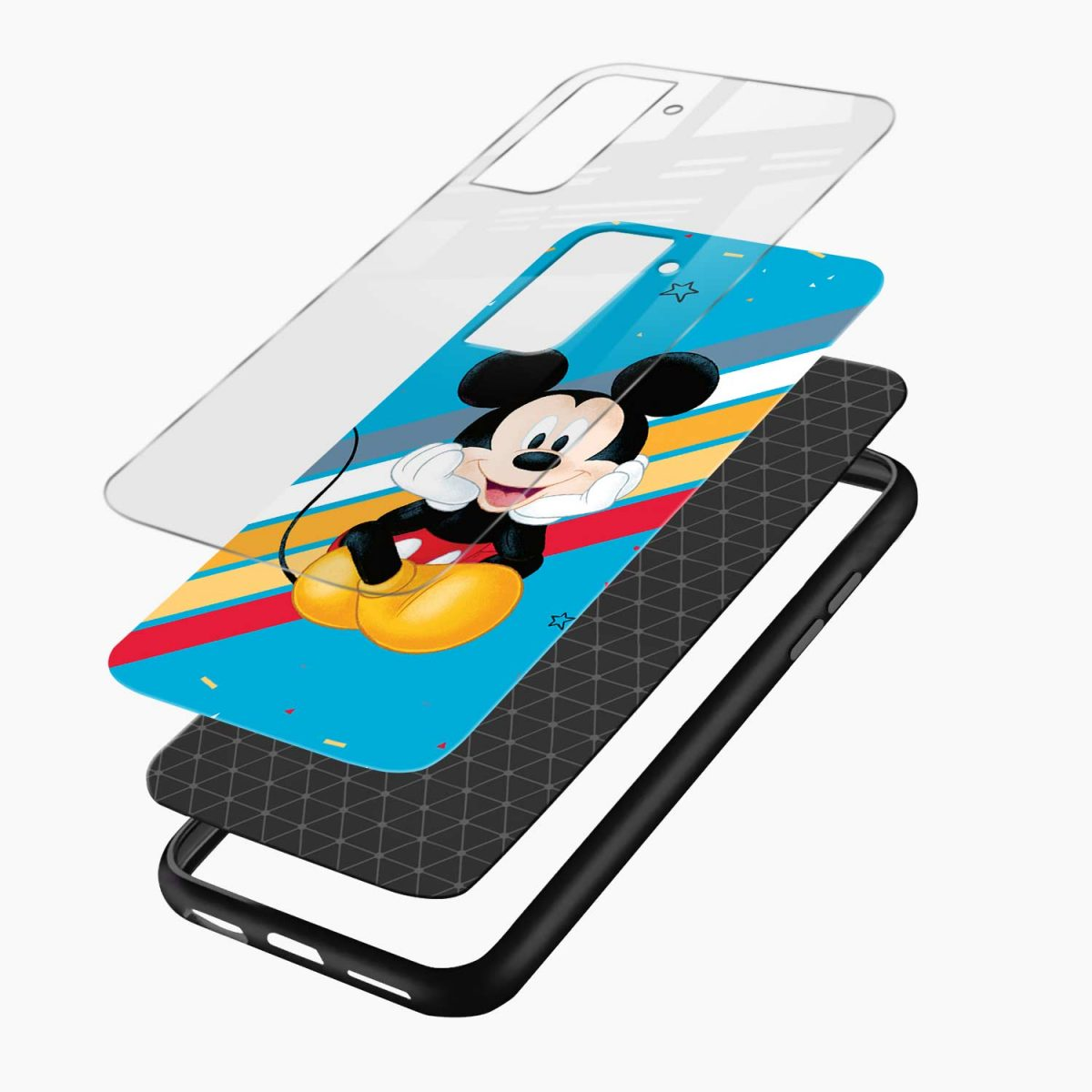 lovely and cute mickey mouse disney cartoon layers view samsung s21 plug back cover
