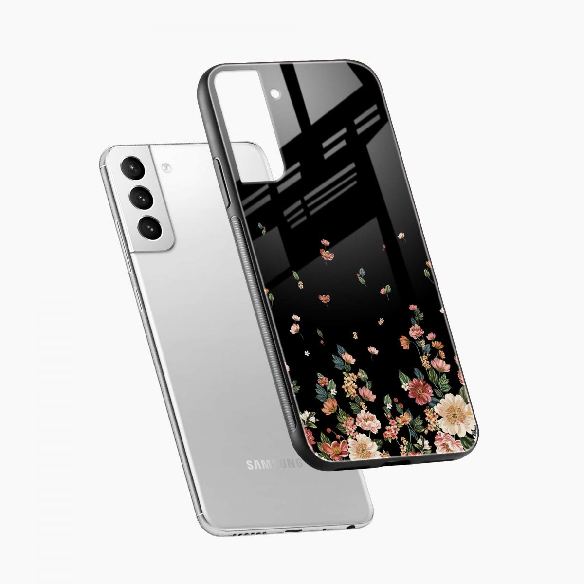 graceful floral black colored diagonal view samsung s21 plug back cover