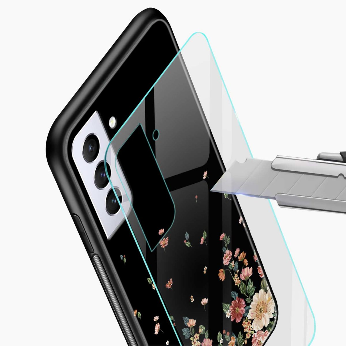 graceful floral black colored glass view samsung s21 plug back cover
