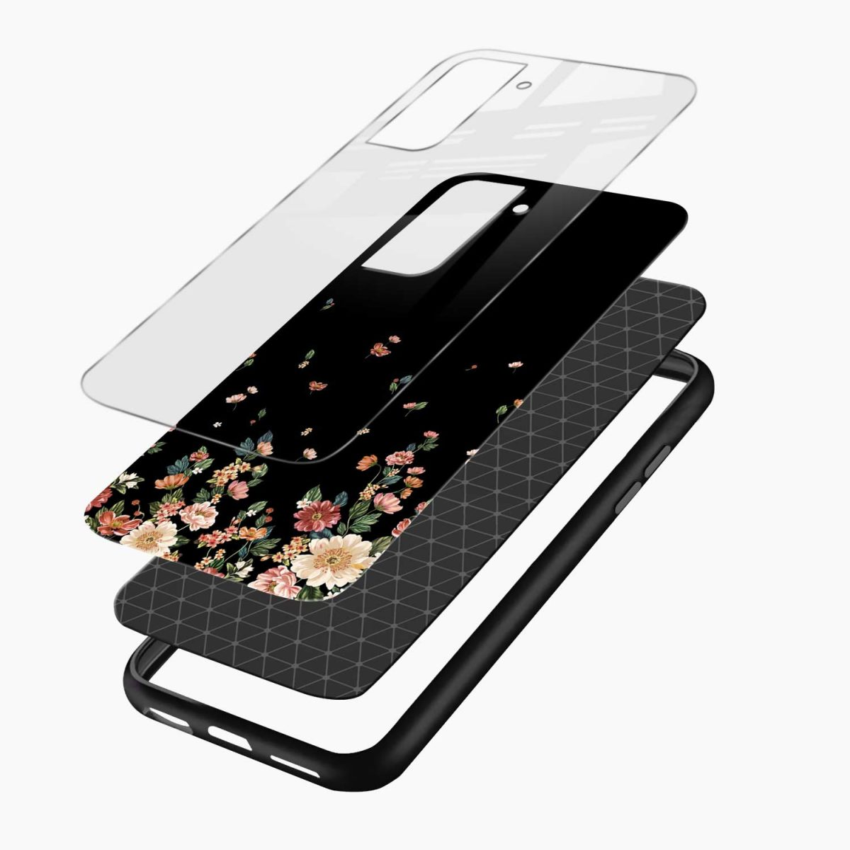 graceful floral black colored layers view samsung s21 plug back cover