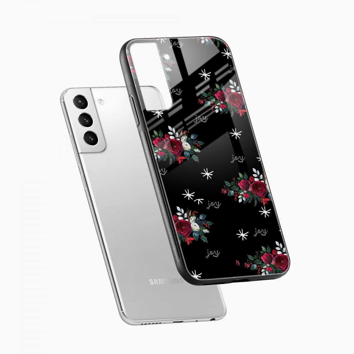 joy floral black colored diagonal view samsung s21 plug back cover
