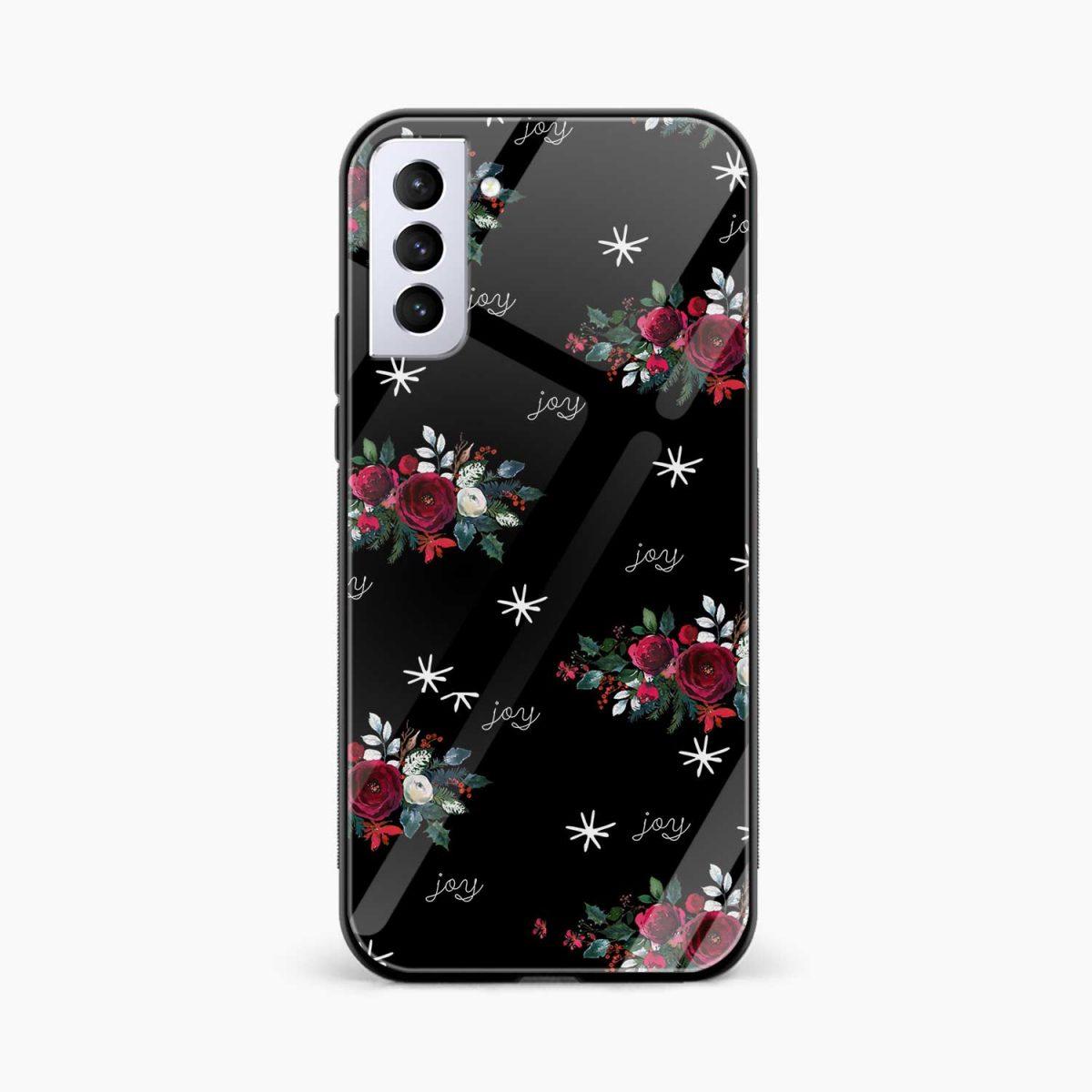 joy floral black colored front view samsung s21 plug back cover