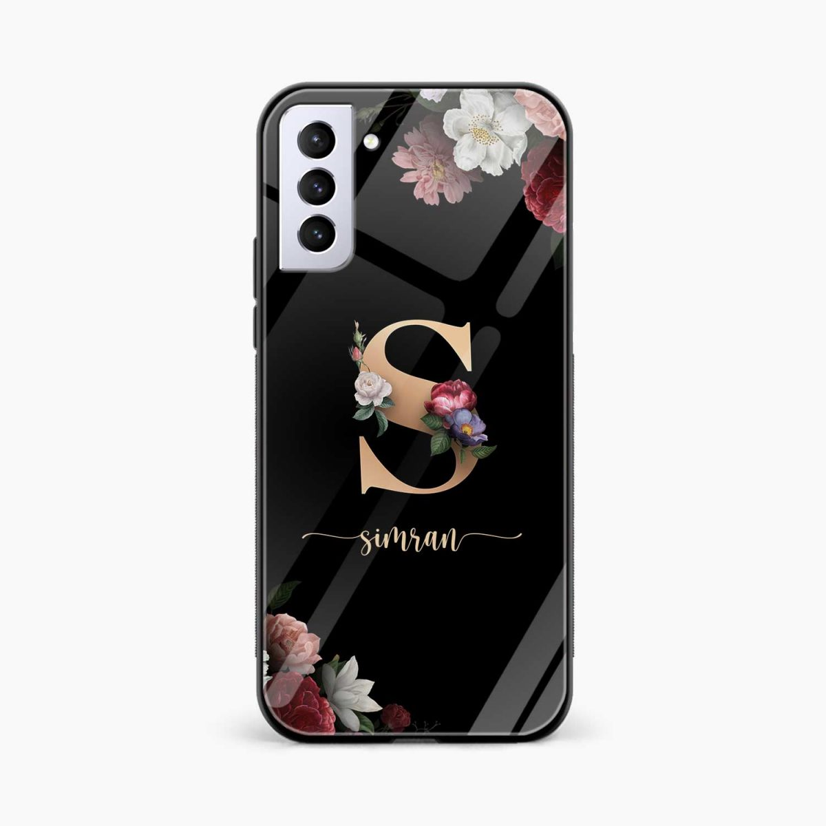 floral black colored name personalised front view samsung s21 plug back cover