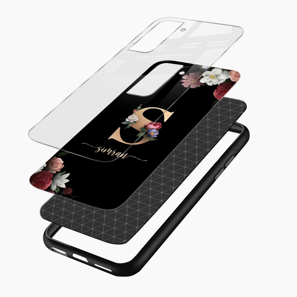 floral black colored name personalised layers view samsung s21 plug back cover