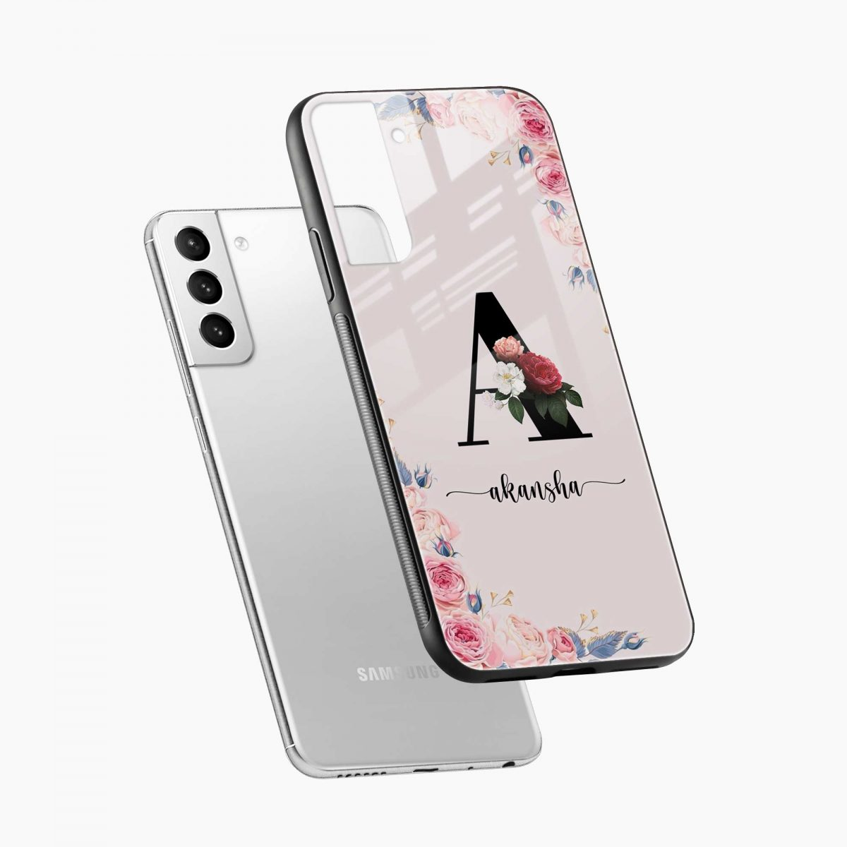 floral name personalised diagonal view samsung s21 plug back cover