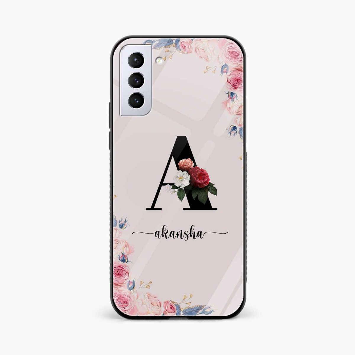 floral name personalised front view samsung s21 plug back cover