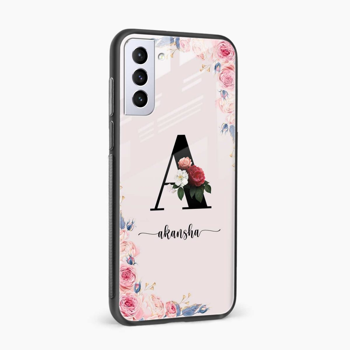 floral name personalised side view samsung s21 plug back cover