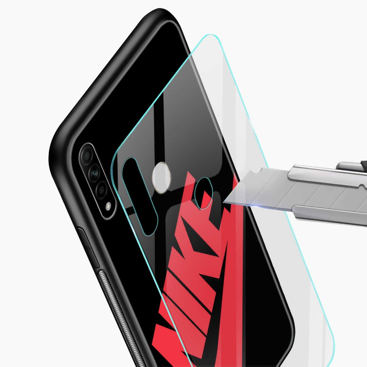big red nike glass view oppo a31 back cover