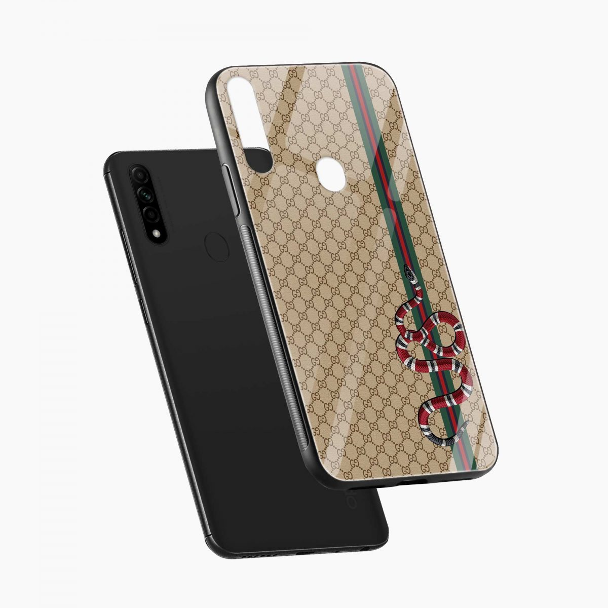 gucci snake pattern diagonal view oppo a31 back cover