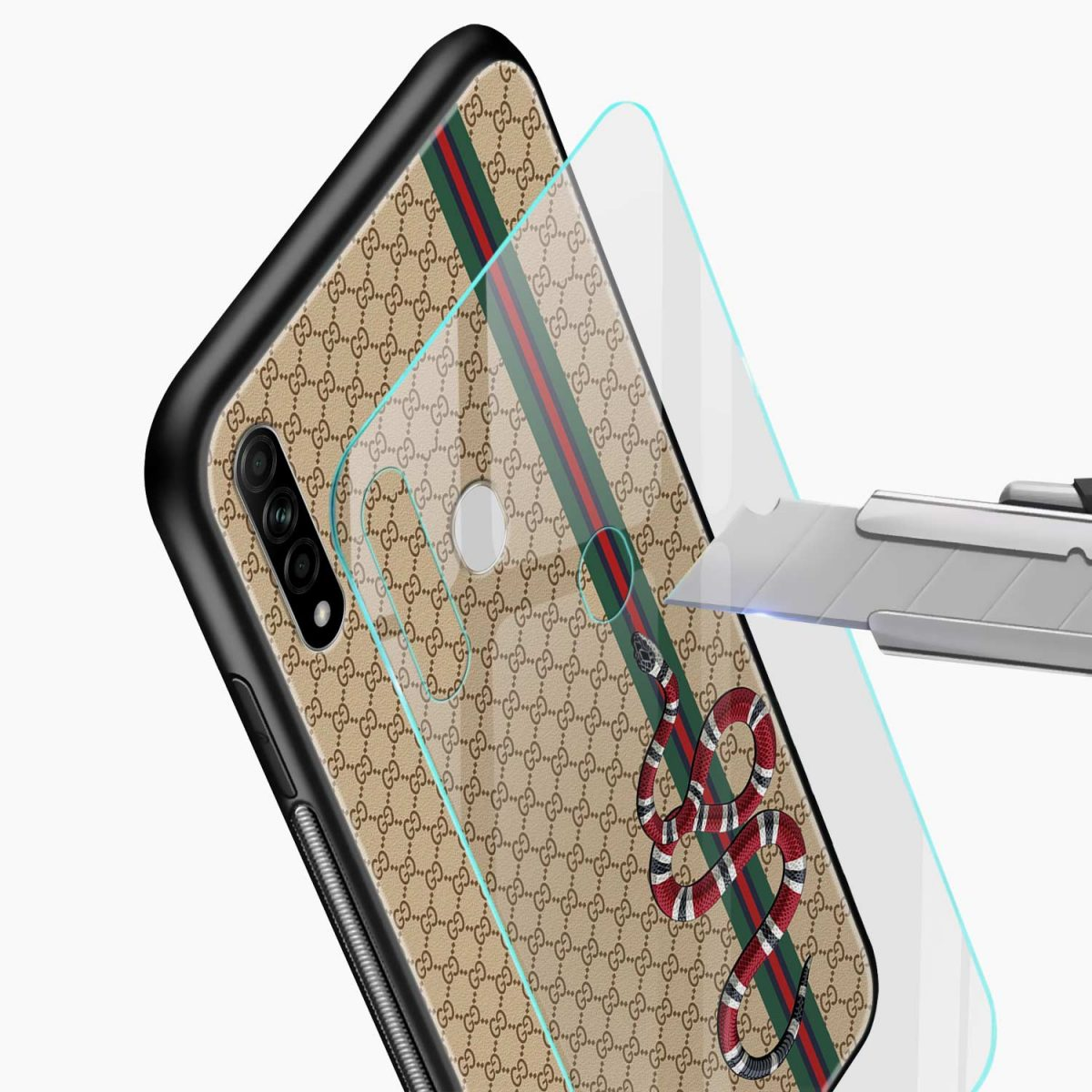 gucci snake pattern glass view oppo a31 back cover