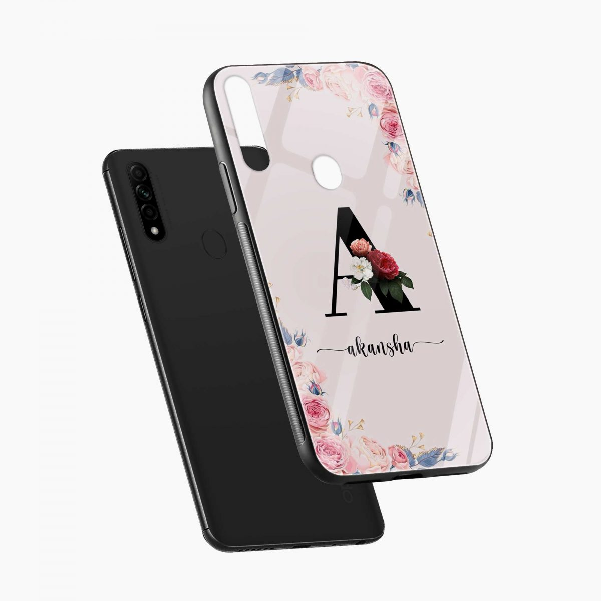 floral name personalised diagonal view oppo a31 back cover
