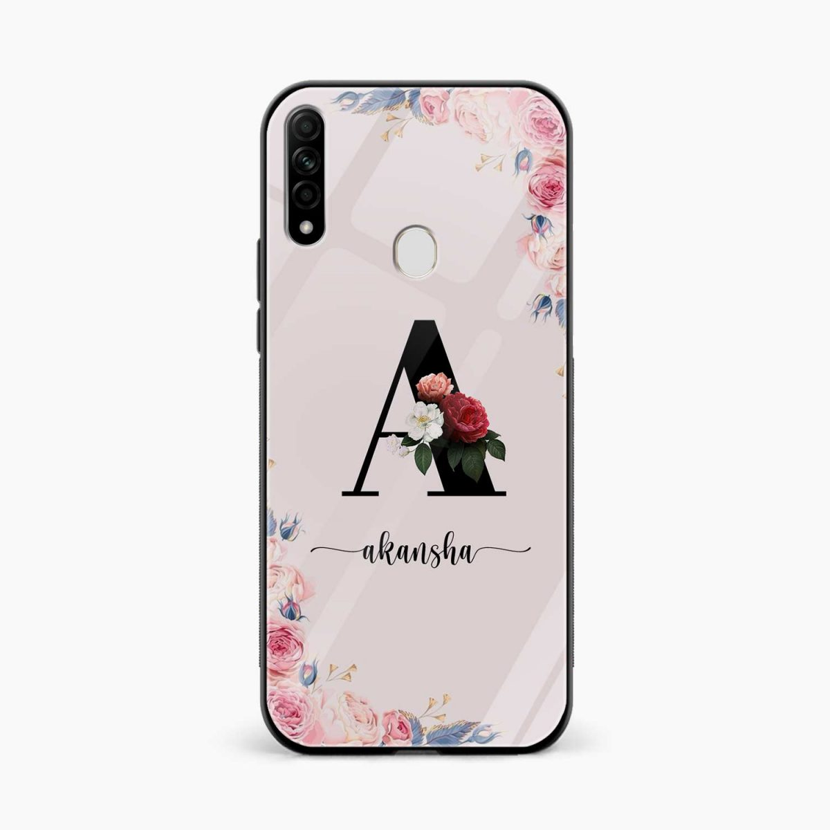 floral name personalised front view oppo a31 back cover