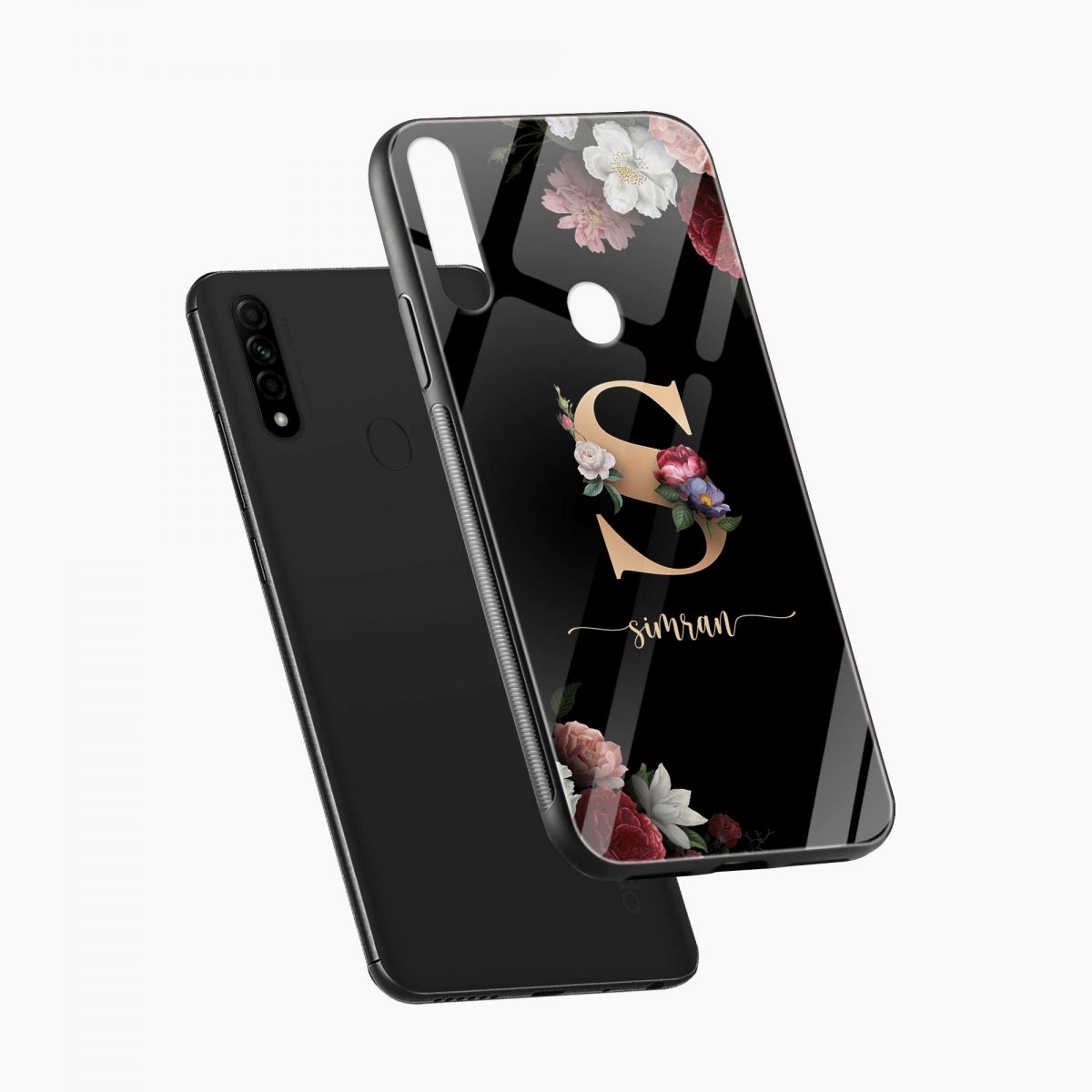 floral black colored name personalised diagonal view oppo a31 back cover