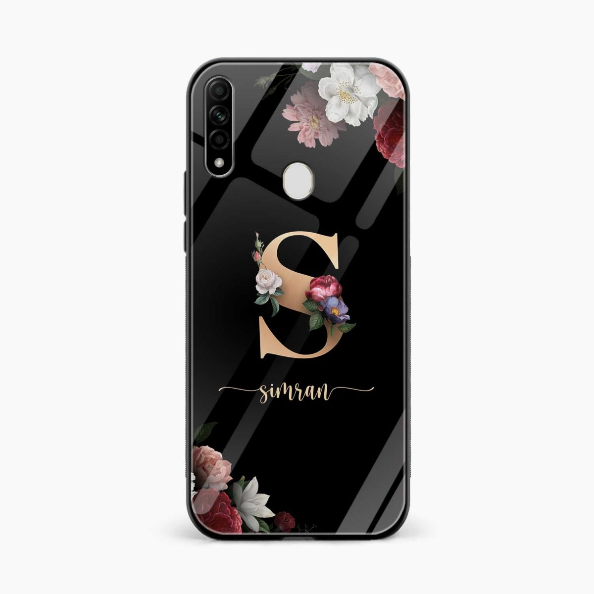 floral black colored name personalised front view oppo a31 back cover