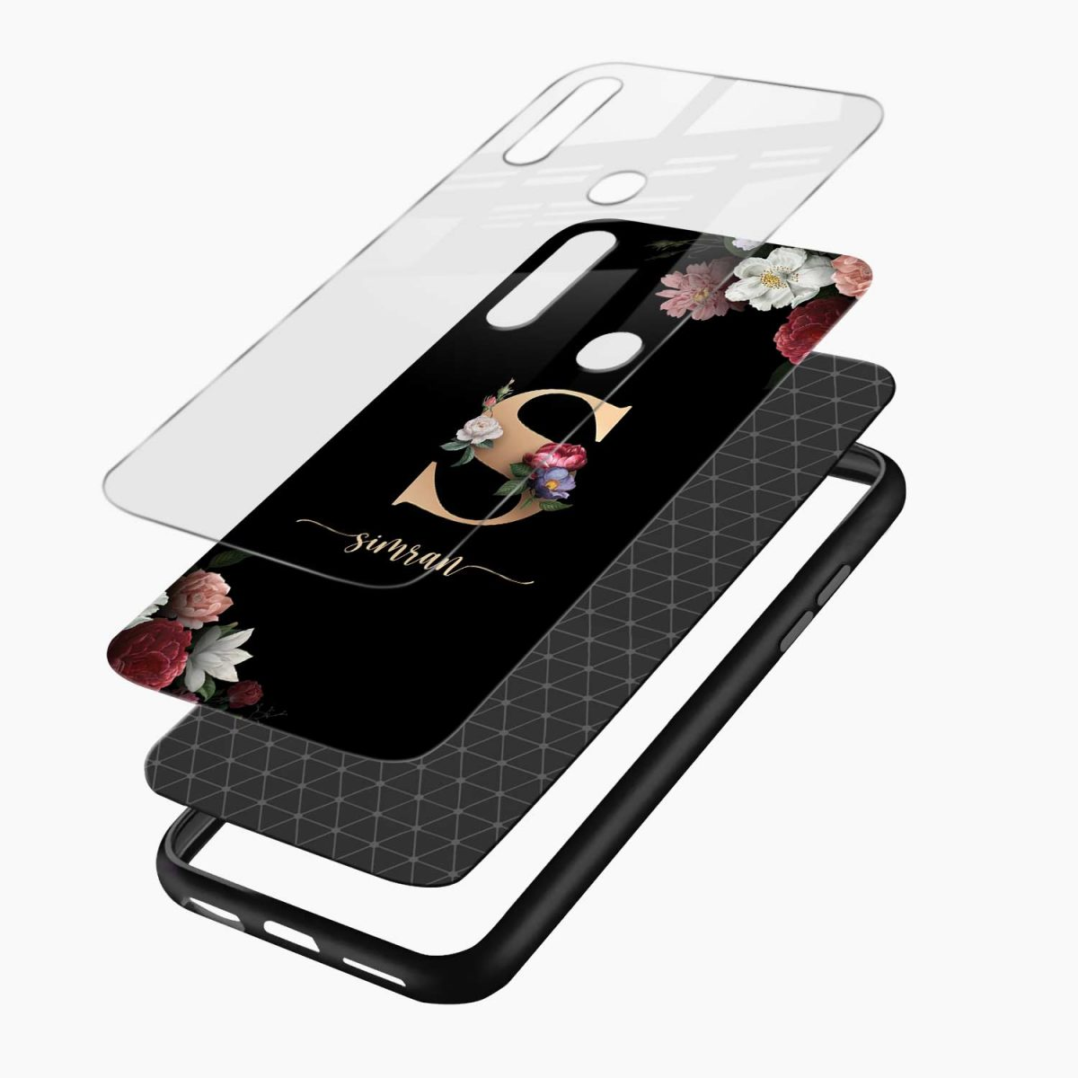 floral black colored name personalised layers view oppo a31 back cover