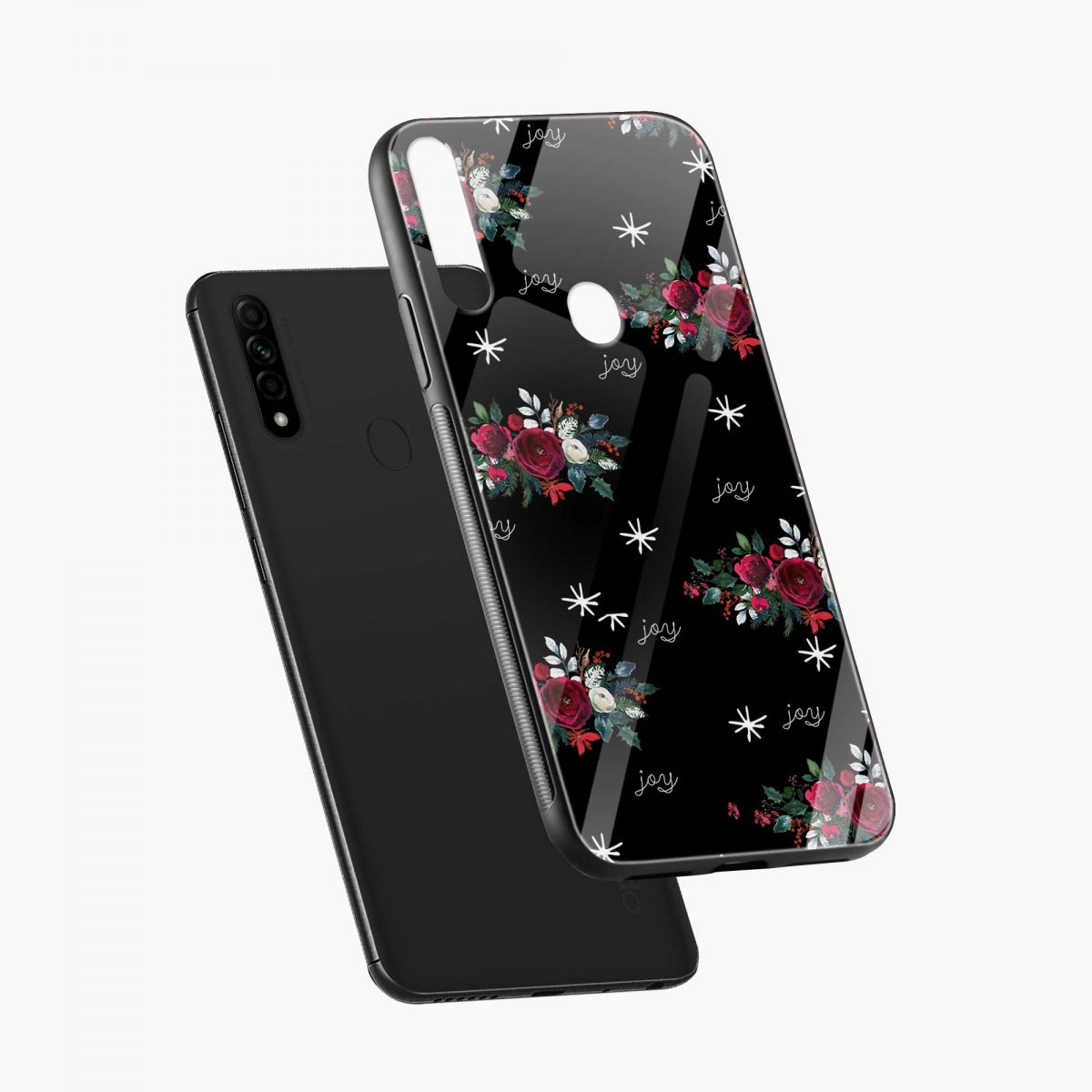 joy floral black colored diagonal view oppo a31 back cover